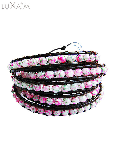 Monsoon Special Leather Cord 4mm Stone Beads Bracelet - Return Favors