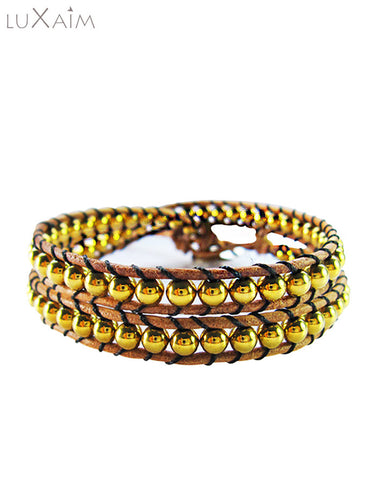 Monsoon Special Leather Cord, Stone Plate Gold Bracelet - Return Favors - 1