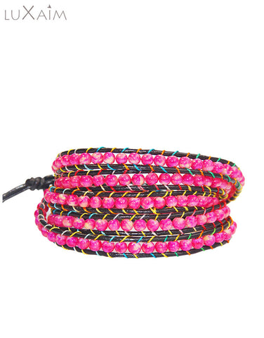 Monsoon Special Special Leather Cord, 4mm Make Color Stone Bracelet - Return Favors