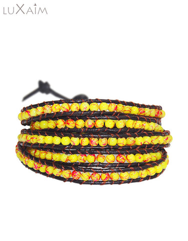 Monsoon Special Leather Cord, 4mm Yellow Color Stone Bracelet - Return Favors