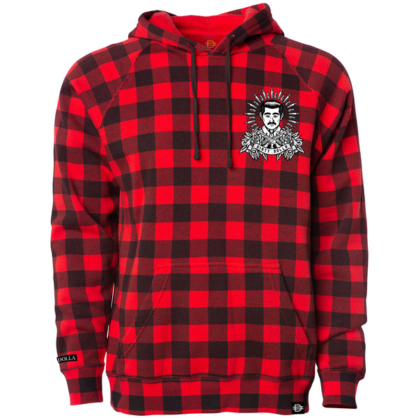 Malverde Hoodie - Red Buffalo Plaid/Black/White
