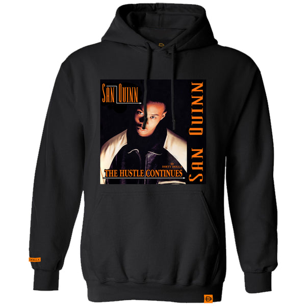 The Hustle Continues Hoodie - Black/Orange - SanQuinnXDirtyDolla
