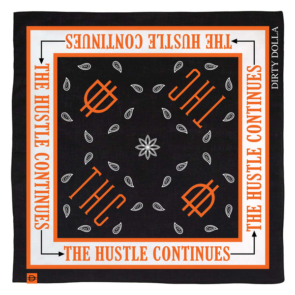 NEW!! THC Bandana - Black/Orange/White