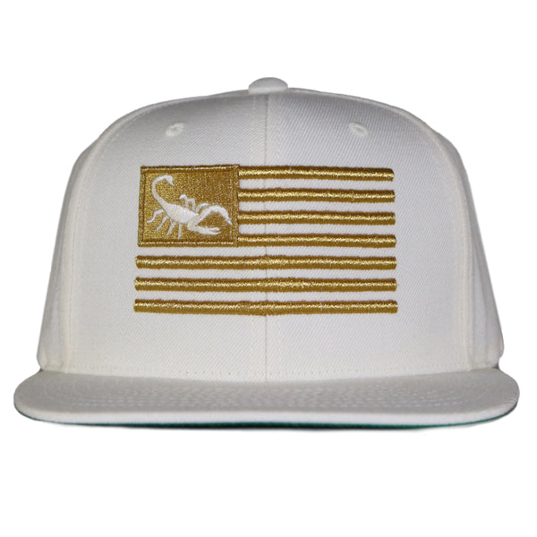 Scorpion Flag Snap Back - White/Gold