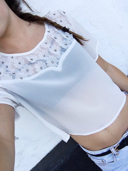 White Crop Chiffon Top