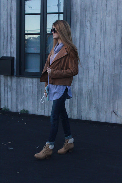 Brown Suede Moto Jacket