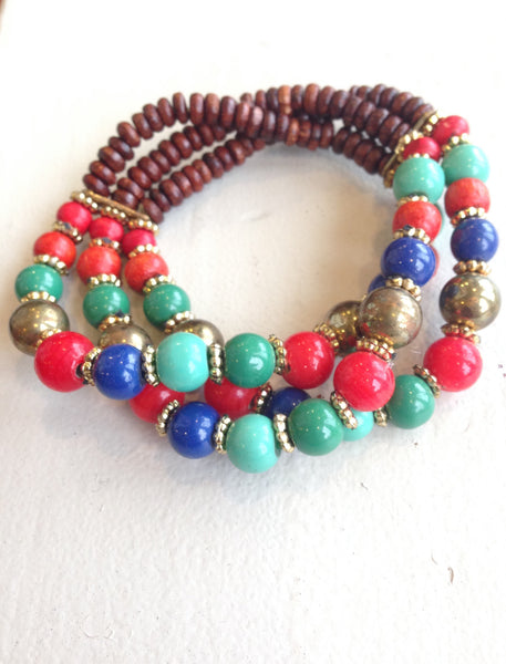 Red and Blue Beaded Bracelet