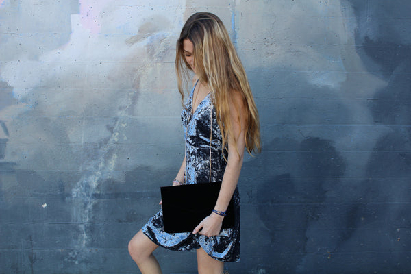 Black Velvet Envelope Clutch