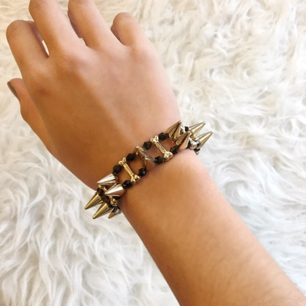Gold Cage Spike Stretch Bracelet