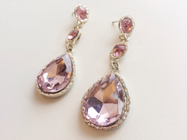 Pink Jeweled Drop Earnings