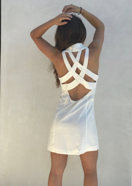 White Back Caged Tuxedo Dress