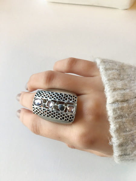 Silver Oversized Jeweled Ring