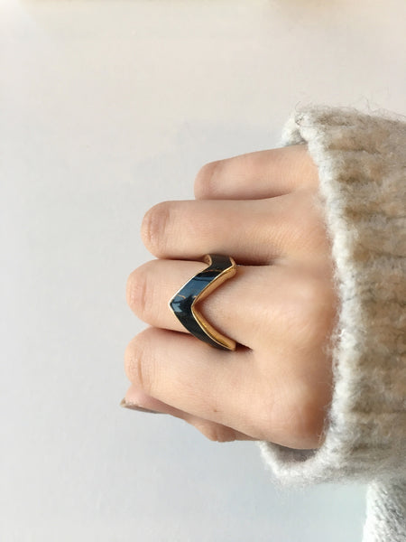 Black + Gold Chevron Ring