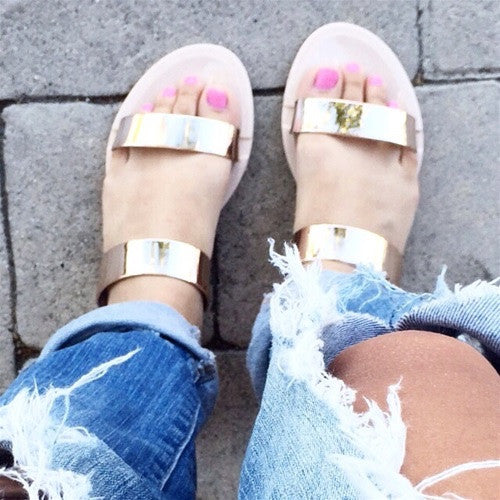 Gold Strap Jelly Sandals