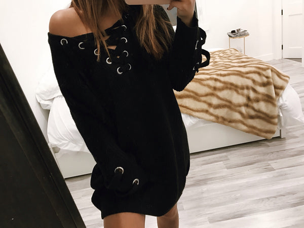 Black Lace Me -Up Tunic