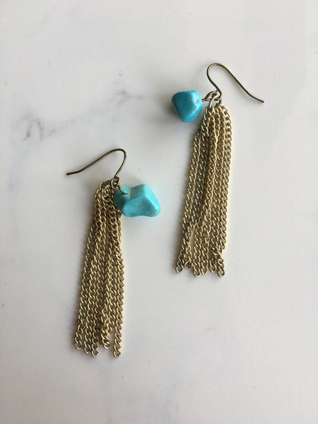 Turquoise+ Gold  Stoned Tasseled Earrings