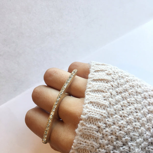 Gold Jeweled Bar Ring
