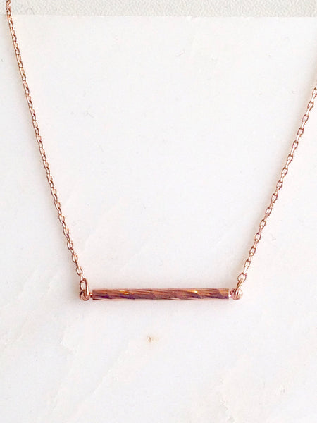 Rose Gold Bar Dainty Necklace