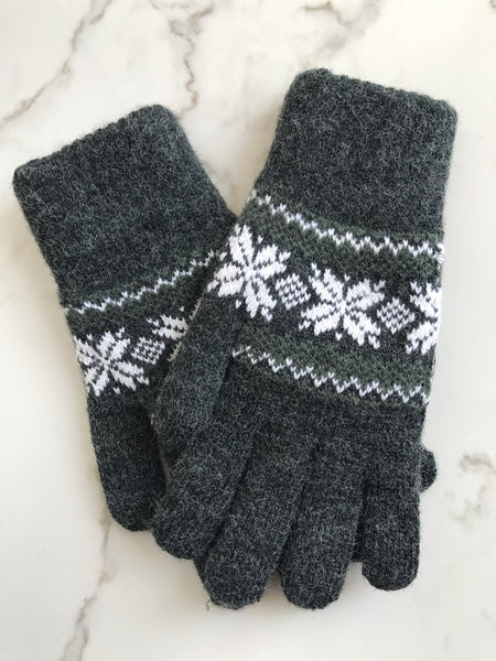 Dark Gray Snow Flakes ❄️ Thick Gloves