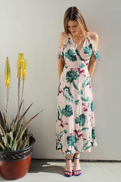 Pink Wrap Maxi Dress With Floral Design