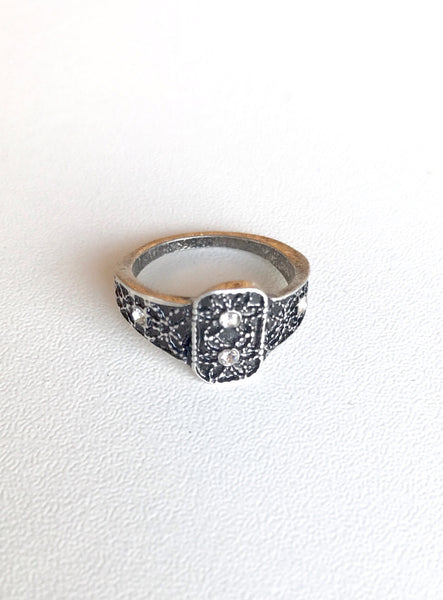 Silver Edged Statement Ring