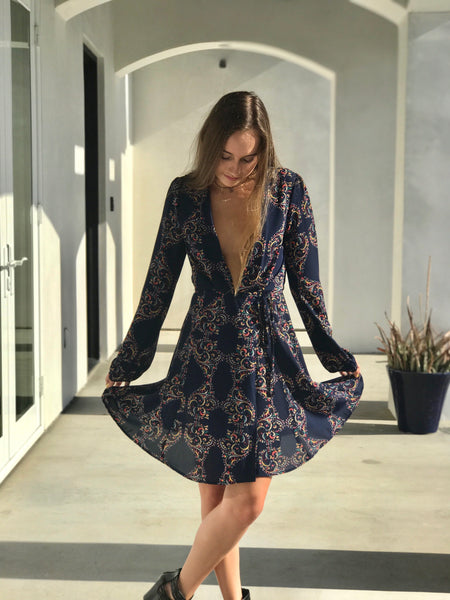 Blue Indie Wrap Dress