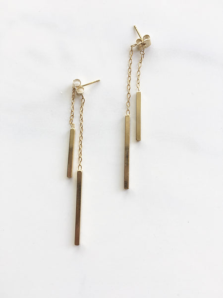Gold Double Bar Dangle Earrings