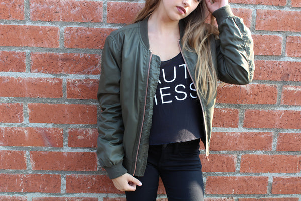 "Olive ""So Bomber"" jacket"