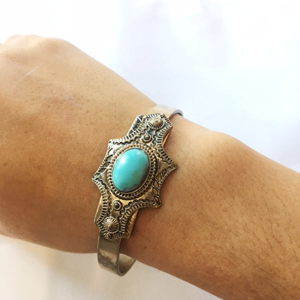 Boho Gold and Turquoise Cuff