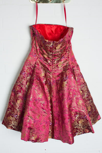Pink and Gold Brocade Dress