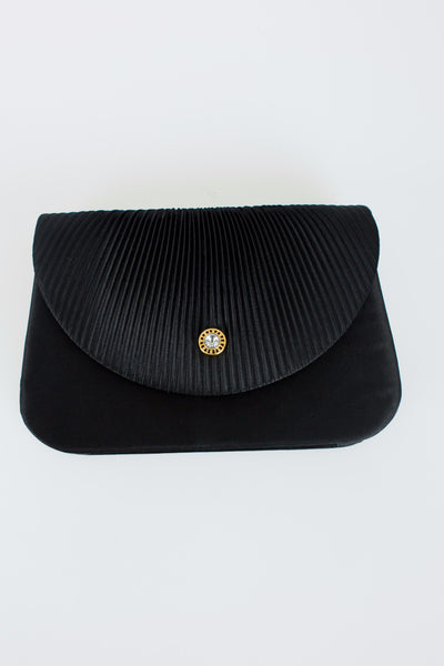 black ribboned clutch, gold embellished clasp, evening wear