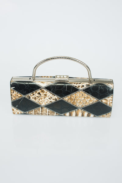 Snakeskin Leather Clutch