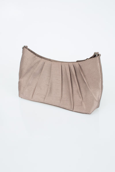 silver bag, clutch, gathered and ruffled bag