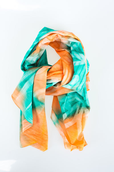 Green and Orange Floral Shawl