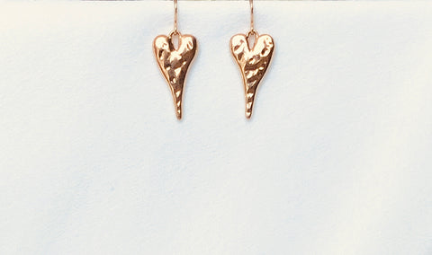 Gold Hammered Heart Earrings
