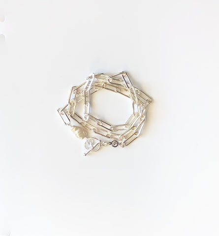 Sterling Silver elongated chain tripe wrap bracelet with pearl and toggle