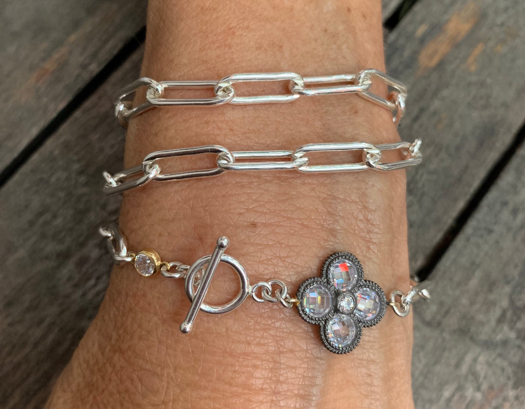 Sterling Silver triple wrap bracelet with charm and toggle
