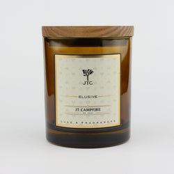 Joshua Tree Candle Company JT Campfire Luxe Candle in Amber Colored Glass