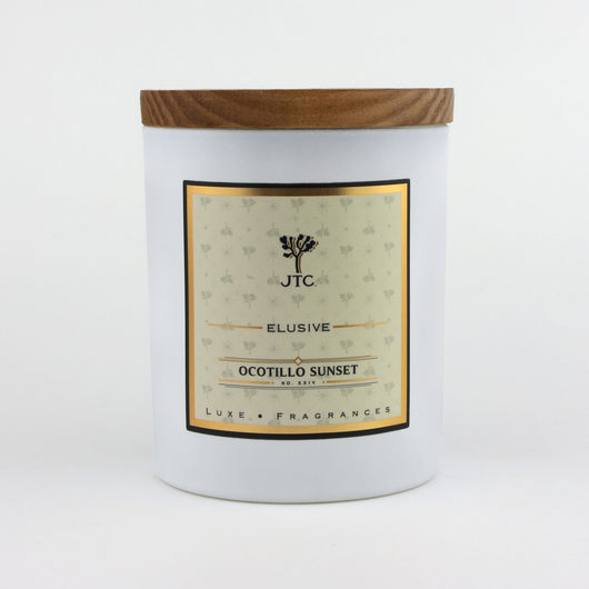 Joshua Tree Candle Company Ocotillo Sunset Luxe Candle in White Matte Colored Glass