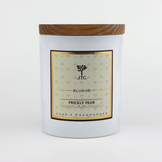 Joshua Tree Candle Company Prickly Pear Luxe Candle in White Matte Colored Glass