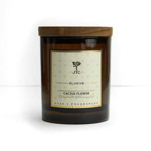 Cactus Flower Luxe Candle in Amber Colored Glass