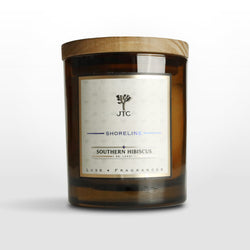 Southern Hibiscus Luxe Candle in Amber Colored Glass