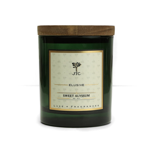 Sweet Alyssum Luxe Candle in Green Colored Glass