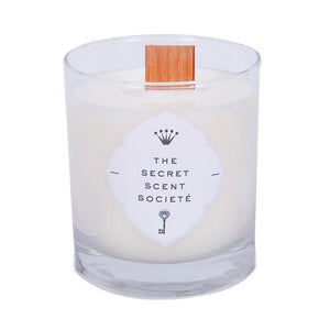 The Secret Scent Société White Wood Wick Candle Crackling Soy Wax Candles