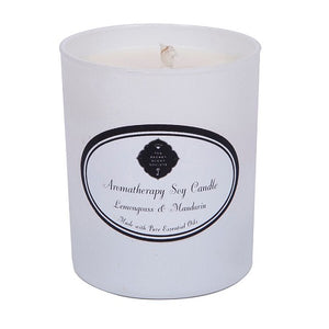Aromatherapy lemongrass and mandarin essential oil soy wax candle in white container