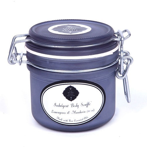 Natural skincare body scrub souffle' with lemongrass and mandarin essential oils in smoke grey kilner jar