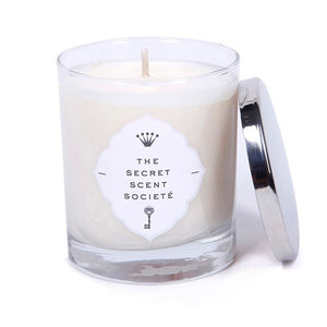 Luxurious natural white highly scented french vanilla and rice flower soy wax candle with cotton wick in a glass container with a stainless steel lid