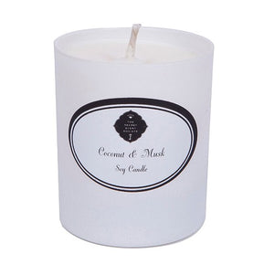 White coconut and musk perfumed soy wax candle in white container