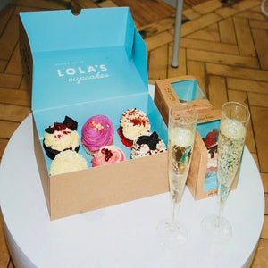 Lola's cupcakes and prosecco in The Secret Scent Société perfume workshop Hatton Garden