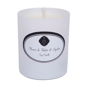 White monoi de tahiti and lychee perfumed soy wax candle in white container